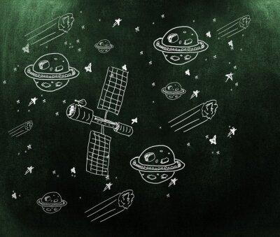 Fototapeta Kompozitní obraz planety, hvězdy a satelit