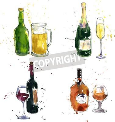 Fototapeta koňak láhev a pohár, láhev vína a sklenice, láhev šampaňského a sklo, pivní láhev a pohár, kresba akvarel a inkoust ručně kreslenými vektorové ilustrace
