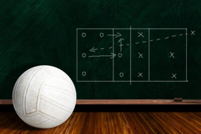 Fototapeta Koncepce hra s hrou strategie volejbal a Chalk Board