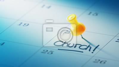Koncepce obraz kalendář s žluté připínáček. detailní záběr