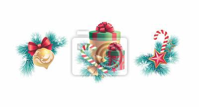 Fototapeta Konstrukční prvky Vánoční dekorace set