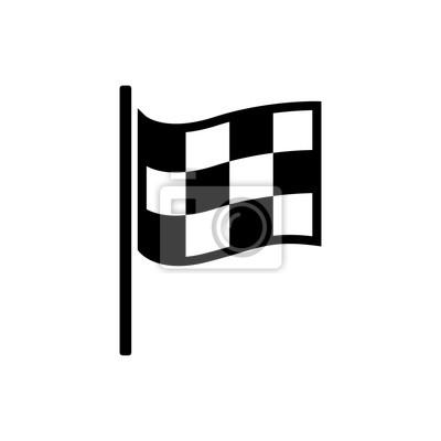 Fototapeta Kontrolovaná ikona vlajky. Zahájení vlajkové auto a moto závodění. Sportovní automobil vítězství znamení soutěže. Dokončení vítězné rally ilustrace. Černobílá barva.
