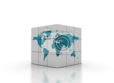 Fototapeta kostky s mapou světa