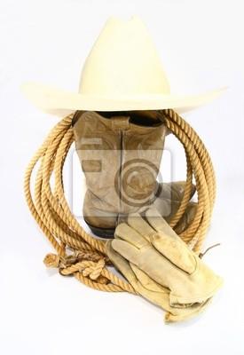 Kovbojské boty rukavice a čepice fototapeta • fototapety bez sedla ... 870a57fc89