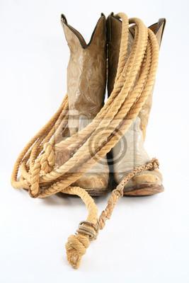 Kovbojské boty s lanem čelní pohled fototapeta • fototapety ... 9b4914d84c