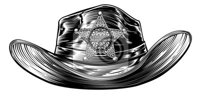 Kovbojský klobouk s šerif odznak s hvězdičkou fototapeta ... a440cb1fcf