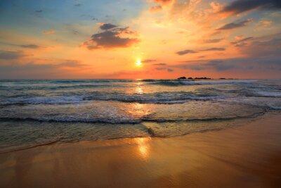 Fototapeta krajina s výhledem na moře západ slunce na pláži