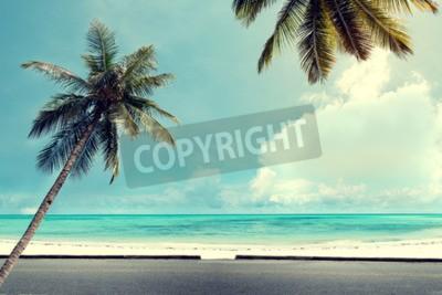 Fototapeta Krajina vintage pozadí přírody kokosové palmy na tropické pláži modré oblohy se slunečním světlem rána v létě, retro efekt filtru