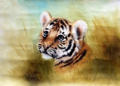 Fototapeta Krásná airbrush malba z Rozkošné dítě tygří hlavy při pohledu ze zelené trávě okolí