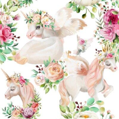 Fototapeta Krásná akvarelová jednorožec princezna, pegasus ve zlaté koruně a květinové, kytice pivoňka a růžové kytice a holub na bílém pozadí bezešvé vzor
