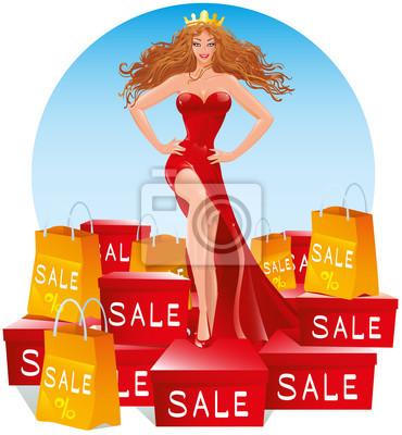 c5e675b4b6b Fototapeta Krásná dívka v dlouhých červených večerních šatech