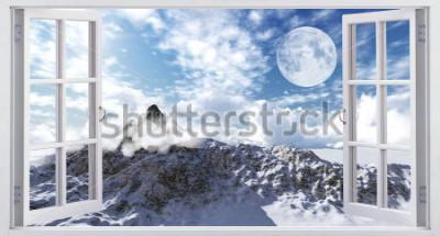Fototapeta Krásná horská krajina, pohled z okna.