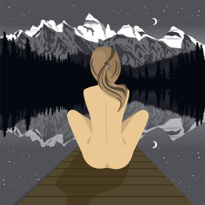 Fototapeta Krásná mladá nahá žena sedí na molu a dívá se na horské jezero v noci