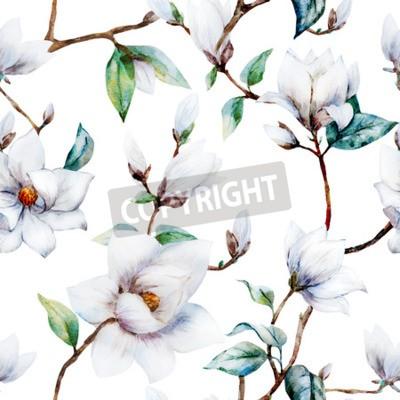 Fototapeta Krásná rastrový vzor s pěkné akvarel magnólie květiny