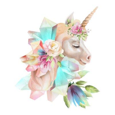 Fototapeta Krásná, roztomilá akvarelová jednorožec s květinami, květinová koruna, kytice a magické krystaly izolovaných na bílém