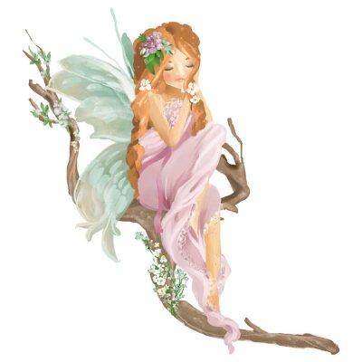 Fototapeta Krásná ručně malovaná olejová víla sedí na staré dřevěné větev s květinovou kytici, květinový věnec izolovaných na bílém