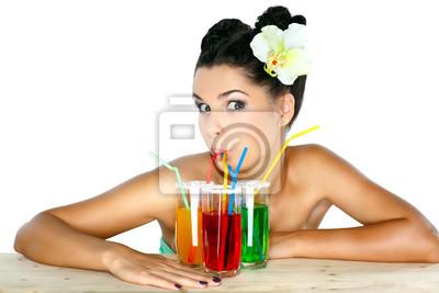 Fototapeta Krásná sexuální dívka s sklenici džusu