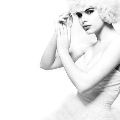 Fototapeta Krásná sexuální dívka v svatební šaty, svatební decoratio