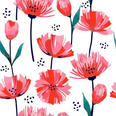 Fototapeta Krásné letní freshy módní divoké kvetoucí květ růžový Tulipán bezešvé vzor v ruce styl kreslení