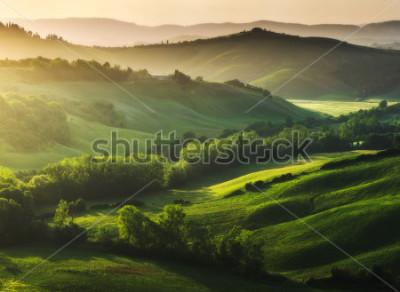 Fototapeta Krásně osvětlená krajina Toskánska