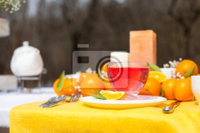 Krasne Svatebni Dekorace Stolu S Stylizovane Oranzove Fototapeta