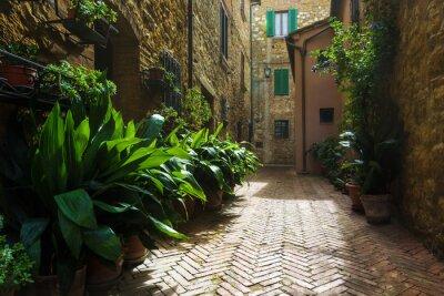 Fototapeta Krásné uličky středověké toskánské vesnice v Itálii, Pienz