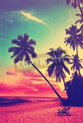 Fototapeta Krásnou tropickou pláž s siluety palem při západu slunce