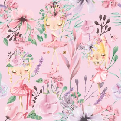 Fototapeta Krásný akvarel květinový bezešvé vzorek s roztomilými baletky, baletky. Abstraktní růže, pivoňka, šeříky a větve na růžovém pozadí