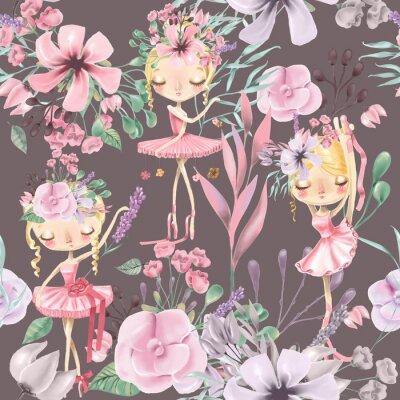 Fototapeta Krásný akvarel květinový bezešvé vzorek s roztomilými baletky, baletky. Abstraktní růže, pivoňka, šeříky a větve na tmavém pozadí