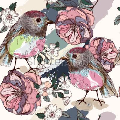 Fototapeta Krásný botanický vzor ve vintage stylu s ptáky a růží