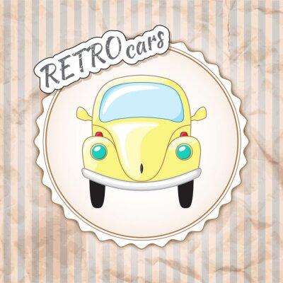Fototapeta Krásný malý žlutý retro auto.