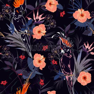 Fototapeta Krásný tropický květinový tisk. Obrys papoušek ptáků v džungli a květiny v létě exotické lesní celoplošný design, bezešvé vzor vektor pro módu, tapety a všechny výtisky na námořnictvo modré.
