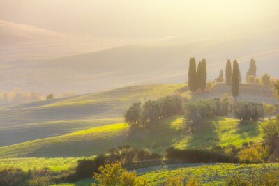 Fototapeta Krásný východ slunce krajina s malebnými kopci
