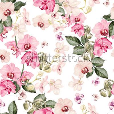 Fototapeta Krásný vzor akvarelu s květinami orchideje. Ilustrace.