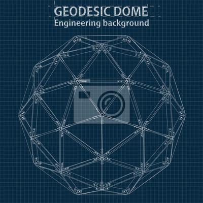 Kresba Geometrickych Geodesickych Kopuli S Liniemi Budov Vektor