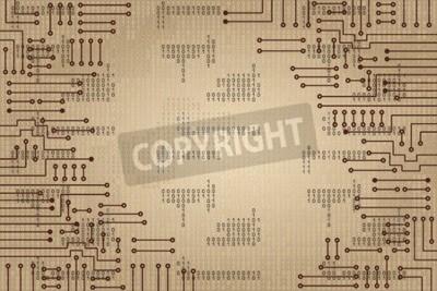 Fototapeta Kresba moderní elektronický obvod a binární kód