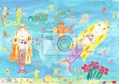 Kresba Morske Panny Fototapeta Fototapety Krasna Chobotnice Vila