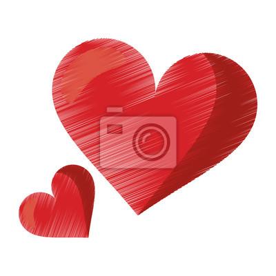 Kresba Roztomile Cervene Srdce Laska Romanticky Symbol Ilustrace