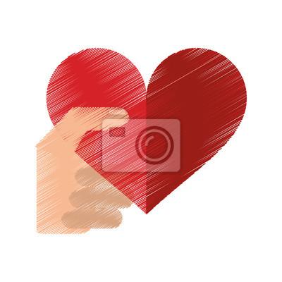 Kresba Ruce S Cervenym Srdcem Romanticke Sv Valentyn Vektorove