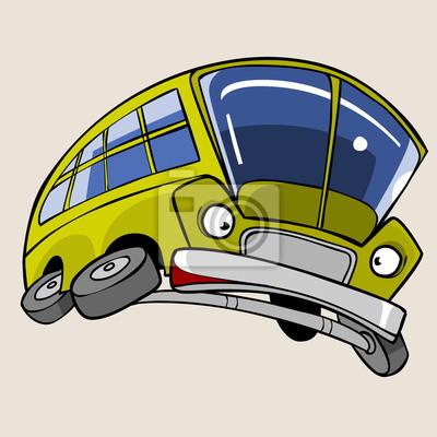 Kreslena Postavicka Zluty Autobus Vystraseny Letani Ve Skoku