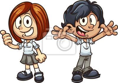 Kreslene Deti V Uniforme Vektorove Ilustrace Klipart S Jednoduchymi