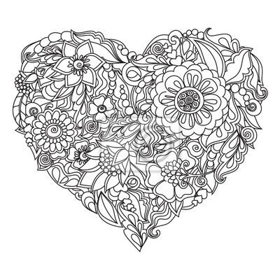 Kreslene Srdce Kvetinove Ozdoby Na Valentyna Nebo Svatbu Fototapeta