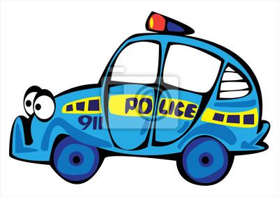 Kreslene Vektorove Policejni Auto Na Bilem Pozadi Fototapeta