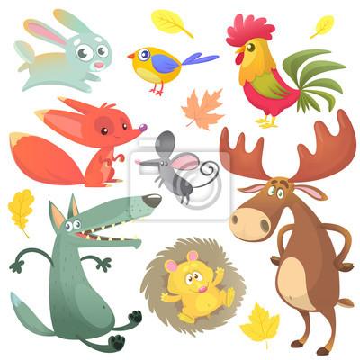 Kreslene Znaky Lesnich Zvirat Lesnich Zvirat Vektorove Ilustrace