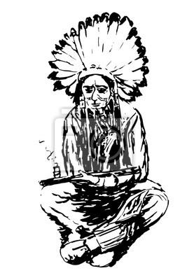 Kresleni Stare Indianske Ve Velkem Celenkou Z Peri Sedi A Kouri