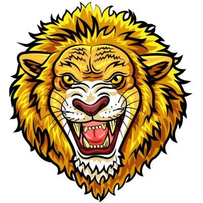 Fototapeta Kreslený vedoucí rozzlobený lev maskot