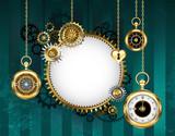 df7d10abb80 Zlaté hodiny na tyrkysovém pozadí fototapeta • fototapety zastaralý ...