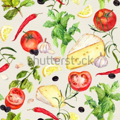 Fototapeta Kuchyňský vzor se sýrem, rajčaty, česnekem, kořením a bylinkami. Opakování pozadí vaření. vodové barvy