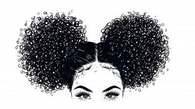 Fototapeta Kudrnatá krása dívka ilustrace izolované na jasné pozadí. Dvojité housky s dlouhými vlasy. Ruční nakreslení nápad pro vizitky, šablony, web, brožura, plakáty, pohlednice, salon