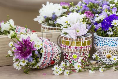 772d2700c Květinová výzdoba v mosai květináči fototapeta • fototapety krásná ...